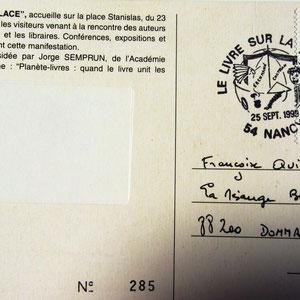 """1999 -Troisième cachet philatélique que j'ai réalisé pour la manifesation du Livre sur la place à Nancy. Sujet """" Planète Livres"""""""