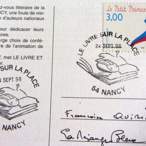 """1998 - Second cachet philatélique que j'ai réalisé pour la manifesation du Livre sur la place à Nancy. Sujet """"Le Livre et les nouvelles technologies et le livre""""."""