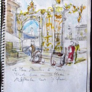 156- Croquis sur le vif de la place stanislas à Nancy