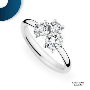 Knospenförmige Diamantgestaltung, auffallender Verlobungsring, gefertigt in Weißgold. I Christian Bauer