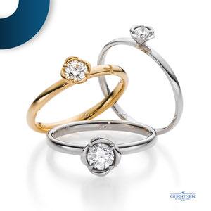 Zartes Ringdesign mit rosenförmiger Diamantfassung. Ein Ring zum Verlieben. Gefertigt in Weiß- oder Gelbgold. I August Gerstner