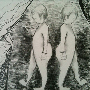 """Footed Twins, graphite on paper, 11"""" X 17"""", 2014"""