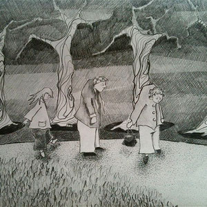 """Procession, graphite on charcoal paper, 11"""" X 17"""", 2013"""