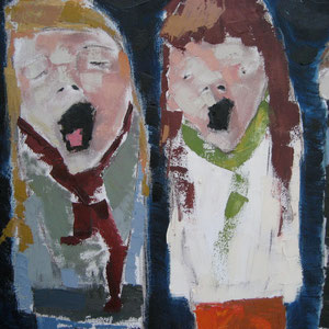 "The Carolers, oil on canvas, 36"" X 36"", 2008"