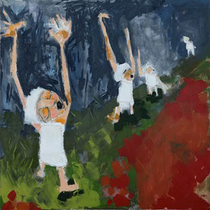 "Rejoice, oil and mixed media on canvas, 29 1/2"" X 29 1/4"", 1999"