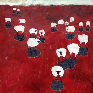 Shadowed Sheep, oil on canvas/fabric collage, 2016, $850