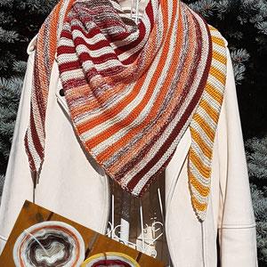 Herbst-Leuchti / Farbzusammenstellung sowie Tuch gestrickt und fotografiert von Andrea Hugel