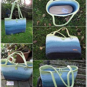 Tasche aus einer 6-fädigen Wunsch-Taschenwicklung / gehäkelt von Martina Aigner