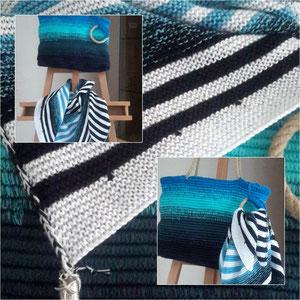 """Tuch aus """"Meeresrauschen"""", Tasche aus Wunschwicklung / gestrickt und gehäkelt und fotografiert von Silke Schröter"""