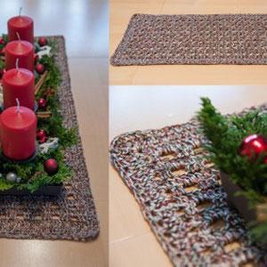 """Tischläufer 25x63cm aus 66g """"Weihnachtswichtel"""" / gehäkelt von Maria Podleisek"""