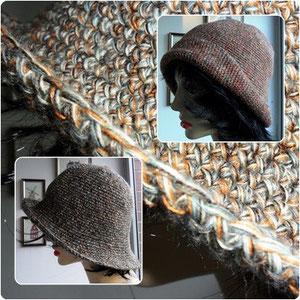 """Hut aus Seide und meiner """"Nofretete""""; gestrickt von Brigitte W."""