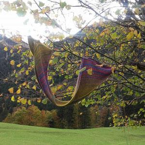 Septemberspaziergang / Farbzusammenstellung sowie Tuch gestrickt und fotografiert von Annegret Germer