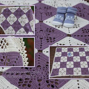 Babydecke ca. 79x95cm groß / Verbrauch 170g Creme & 130g Violett 4-fädig / aus 30 Quadraten gehäkelt mit NS 3,5 von Maria Podleisek