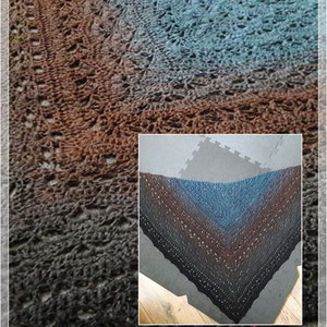 Tawarwaith-Tuch von Morben Design / Wolle: Wunschwicklung petrol-braun-anthrazit-tiefschwarz/ gehäkelt von Bianca Sperling