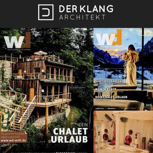 """""""MUSIK- & KLANG-CHALETS"""": Optisch von uns bewusst in Szene gesetzte Klangräume sind das neue Alleinstellungsmerkmal ihrer alpinen Berg-Chalets."""