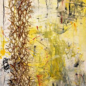 """""""Im Netzwerk"""", Materialcollage auf Bw, 120 cm x 100 cm"""