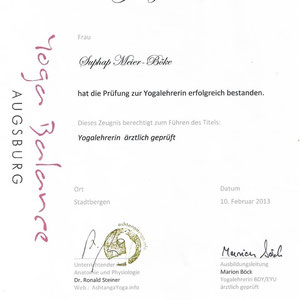 Suphap Prabpai (vormals Meier-Böke) - Zertifikat Yogalehrerin