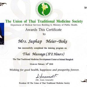 Suphap Prabpai (vormals Meier-Böke) - Zertifikat Thaimassage
