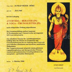 Suphap Prabpai (vormals Meier-Böke) - Zertifikat Ayurveda Berater und Yogalehrer