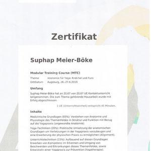 Suphap Prabpai (vormals Meier-Böke) - Zertifikat Anatomie