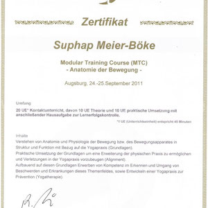 Suphap Prabpai (vormals Meier-Böke) - Zertifikat Anatomie der Bewegung