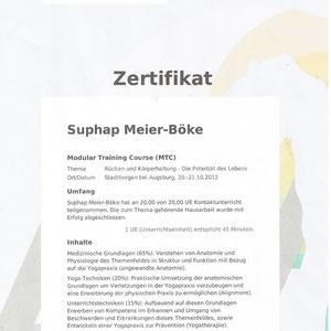 Suphap Prabpai (vormals Meier-Böke) - Zertifikat Rücken und Körperhaltung