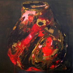 Vase marbré, tech. mixte sur toile, 60x60