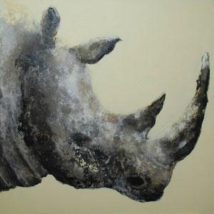 Rhino n. 2, tech. mixte sur toile, 100x100