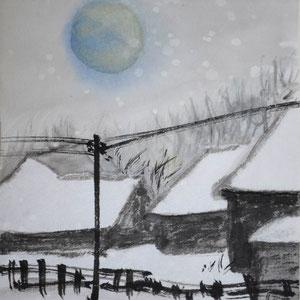 Japan-Sonne in winterblaugrau/ 10,5x14,0cm / ID: N104-2156