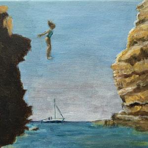 | DER SPRUNG 3 - Acryl auf Leinwand 30 x 23,5 cm, 2020 | Blanka von Rohr | Malerei | Hamburg
