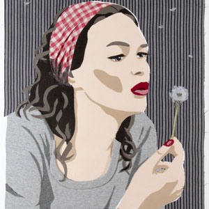 Pusteblume | Stoff auf Leinwand | 60 x 50 cm
