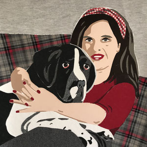 Der Hund darf nicht aufs Sofa | Stoff auf Leinwand | 70 x 70 cm