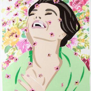 Die Glückliche im Frühling | Stoff auf Leinwand | 60 x 50 cm