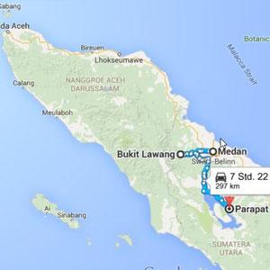 Sumatra Reiseroute