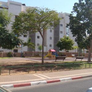 Jardin en bas de l'immeuble