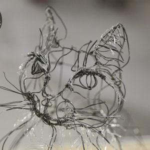 """ARC EN LUNE Fabienne Quenard chat """"Tigrou"""" fil de fer 3D"""