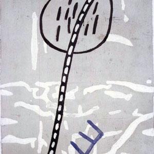 EGO-RAUM+LANDSCHAFT, 1992, Asche, Russ, Kalk auf Papierpappe/Gaze, 100 x 143,5 cm