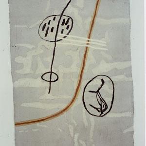 EGO-RAUM+LANDSCHAFT, 1992, Asche, Russ, Kalk auf Papierpappe/Gaze, 100 x 140,5 cm