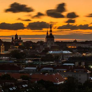 Blick über die Dächer auf das Stadtzentrum von Tallinn. Mittig links sieht man die Zwiebeltürme der Alexander-Newski-Kathedrale.