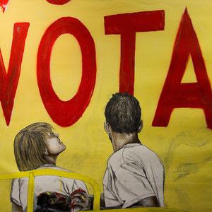 Volem Votar, huile, graphite et aérosol sur canevas, 93 x 81 cm, 2015.