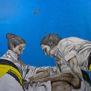 Tots Junts, huile, graphite et aérosol sur canevas, 102 x 112 cm, 2015.