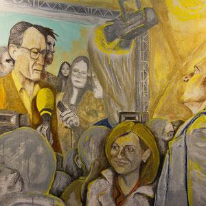 La Nit Groga, huile, graphite et aérosol sur canevas, 102 x 152 cm, 2015.
