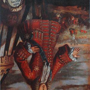 Portrait de Philippe V la tête en bas, pour se « venger » de la destruction de ville de Xàtiva (Musée de l'Almodí, Xàtiva).