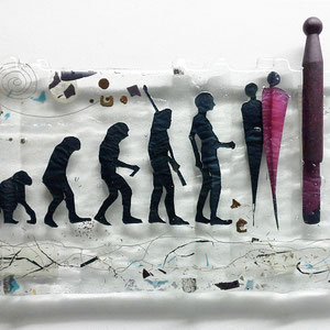 Menschwerdung, Floatglas, Fusing-Technik