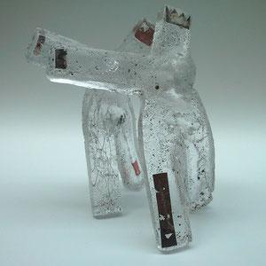 Tanzen, Sandguss heiß von Hand geformt, optisches Glas, ca. 35x28x28 cm