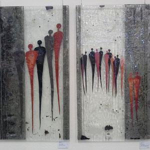 Begegnungen im Raum_2006, Floatglas, Fusing-Technik, je 90x50 cm