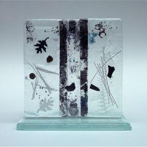 Stele, Floatglas, Fusing-Technik,12x12x5 cm