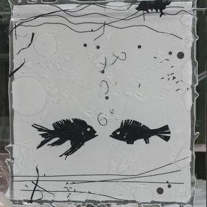 Lichtbild _stummes Gespräch, Fusing-Technik, Überfangglas, Metallständer 50x25 cm