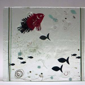 Fische, Floatglas, Fusing-Technik