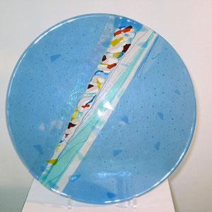 Schale, Fusing-Technik, abgesenkt, Artista-Glas, D: 50 cm